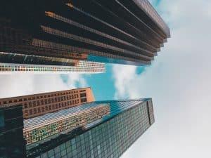 worm eye view of buildings